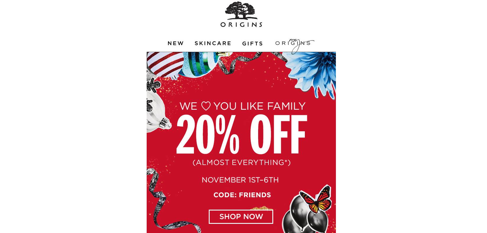 Origins Promotional ecommerce email marketing